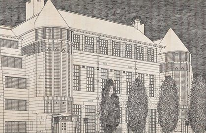 Sketch by Charles Rennie Mackintosh at the RIBA exhibition