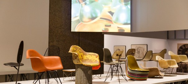 The Eames chairs at the World of Charles and Ray Eames Exhibition at the Barbican