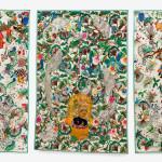 textile triptych by Leonardo Chiachio and Daniel Giannone